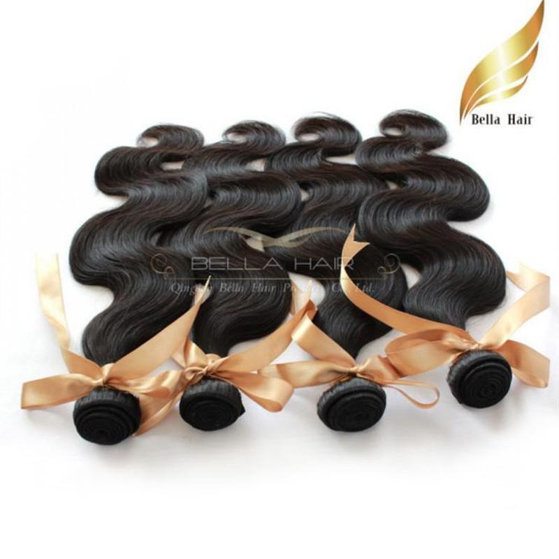 """10 """"-28"""" Mongolskt mänskligt hår vävar 4st / lot kroppsvåg hairextensions bellahair naturlig färg"""