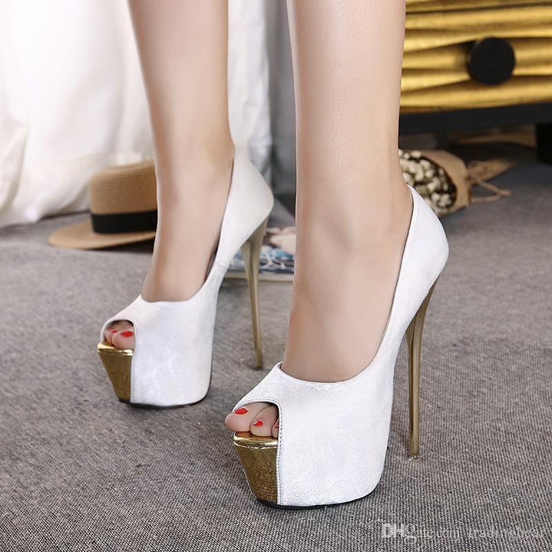 16cm Süper yüksek topuklu pembe beyaz kadınlar gelinlik balo elbisesi elbise ayakkabı 35 40 boyutlandırır pompaları