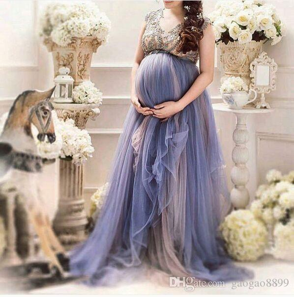 Lavender Tulle Plus Size Maternity Women\'S Formal Prom Party Dresses Custom  Make Beaded Cap Sleeve Pregnant Special Occasion Gowns Gowns For Plus Size  ...
