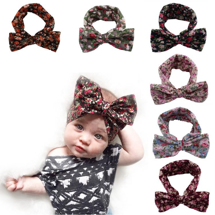 Elastic 6 Pcs Cotton Baby Girl Bohemia Headband Headwear HairBand Bow Accessorie
