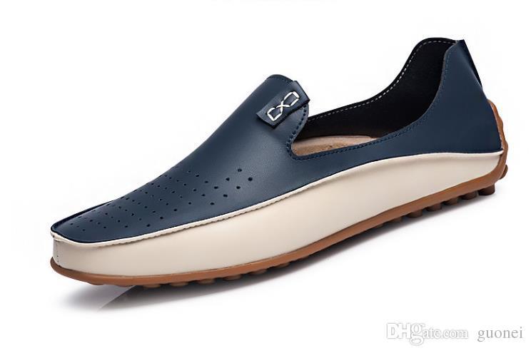 2017 Adam Moccasin Nefes erkek Tasarımcı Düz Yumuşak Deri Ayakkabı Moda Tekne Ayakkabı Marka Sıcak Satış