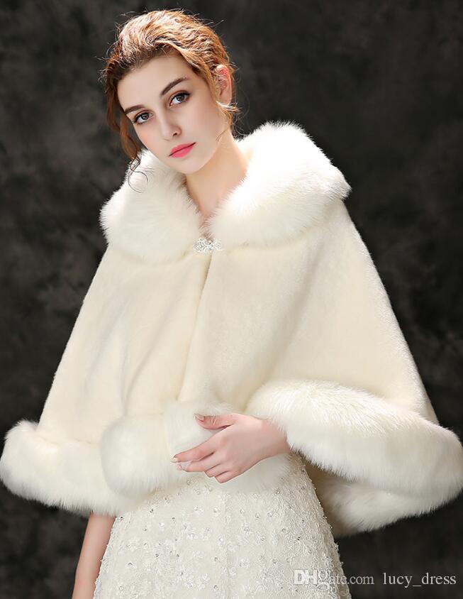 겨울 웨딩 클록 Bridal Faux Fur Wrap Warm Shawls 아우터웨어 한국 스타일 여성 자켓 Prom Evening Party PDK059