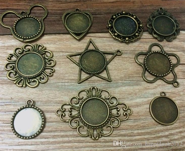 20pcs/lot Mixed style 10style Diy Bronze Round pendant base Cameo Cabochon Base Setting Necklace Penand For Jewlery Making 18*18mm