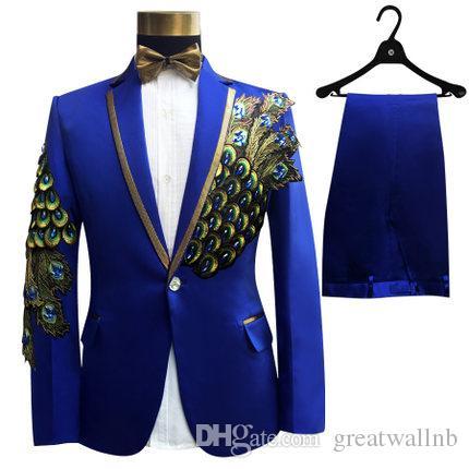 Бесплатная доставка мужской королевский синий / черный / красный павлин вышивка бисером смокинг костюм / сценическое jaceket с брюками