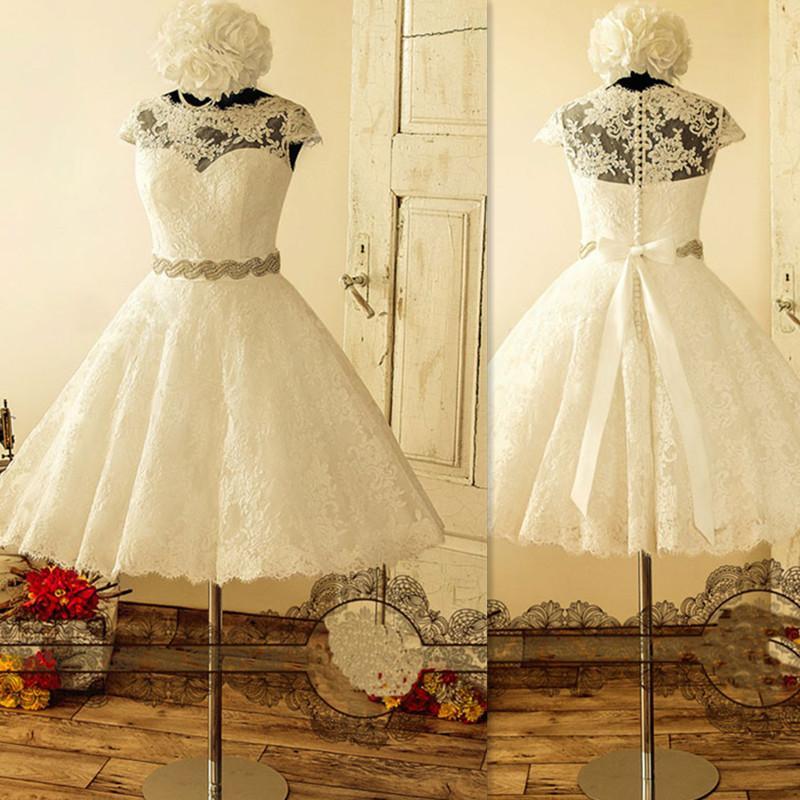 2017 Свадебные платья с кружевной длиной до коленей A-line Sheer Cap Sleeves Реальное свадебное платье для новобрачных с пляжным стилем Sash