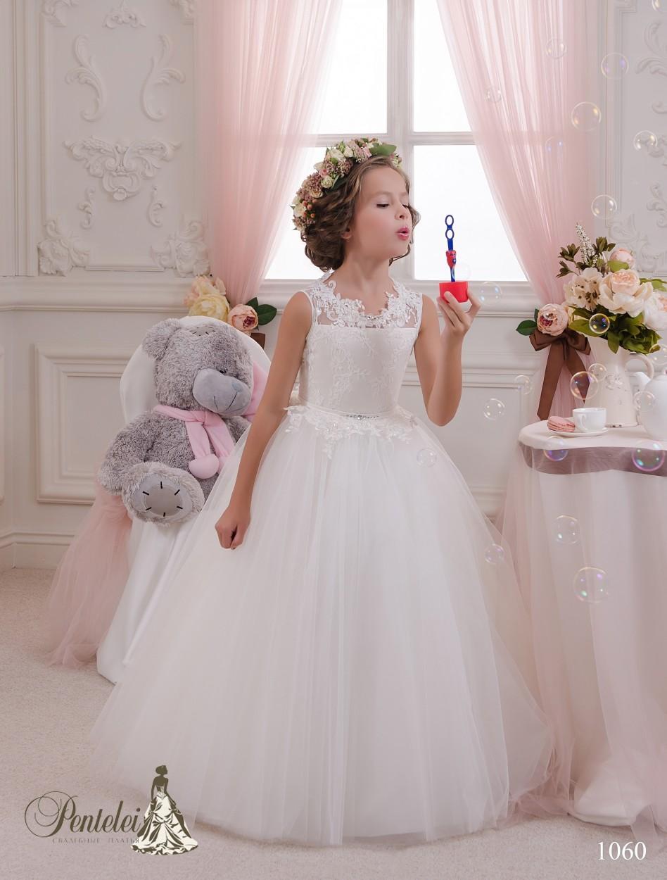 2016 Vestidos De Noiva Em Miniatura com Jewel Neck e Keyhole Voltar Apliques Tulle Ballgown Meninas Primeira Comunhão Vestidos