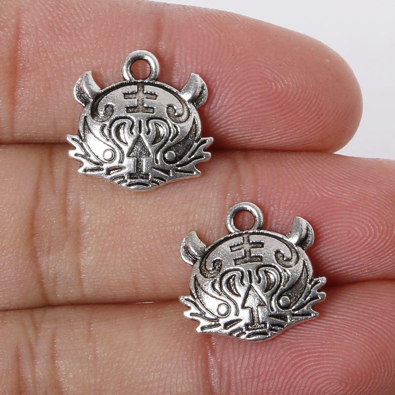 Free shipping 6pcs 15x16mm Zinc Alloy Antique Silver Tiger Head DIY Charms Pendants jewelry making DIY