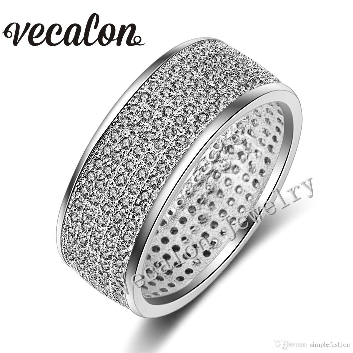 Vecalon 전체 250 PC 시뮬레이션 된 다이아몬드 Cz 웨딩 밴드 반지 여성 10KT 화이트 골드 채워진 여성 약혼 밴드 Sz 5-11