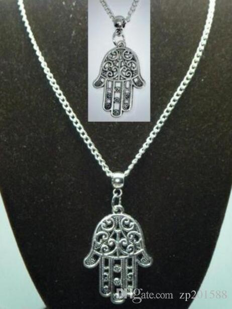 Vintage Argent Khamsa Main Fatima Colliers Charms Collier Ras Du Cou ColliersPendentifs Pour Femmes Cadeau DIY Bijoux Accessoires de Mode HOT Q123