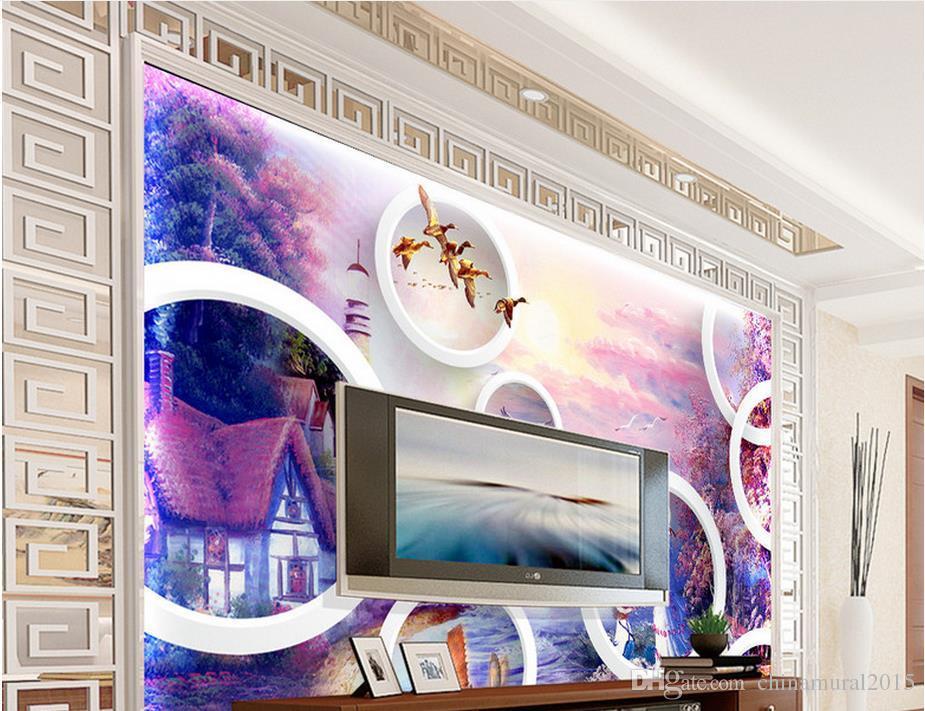 wallpaper pastoral dramáticos murales abstractos del papel pintado 3D para sala de estar