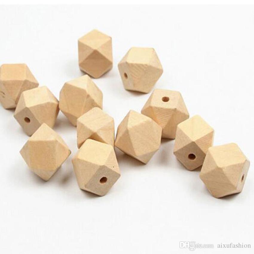 100pcs/lot Loose Beads Organic Beech Geometric Wood Beads Octagon Baby Teether DIY Wooden Beads 10 12 14 16 18 20 30 mm