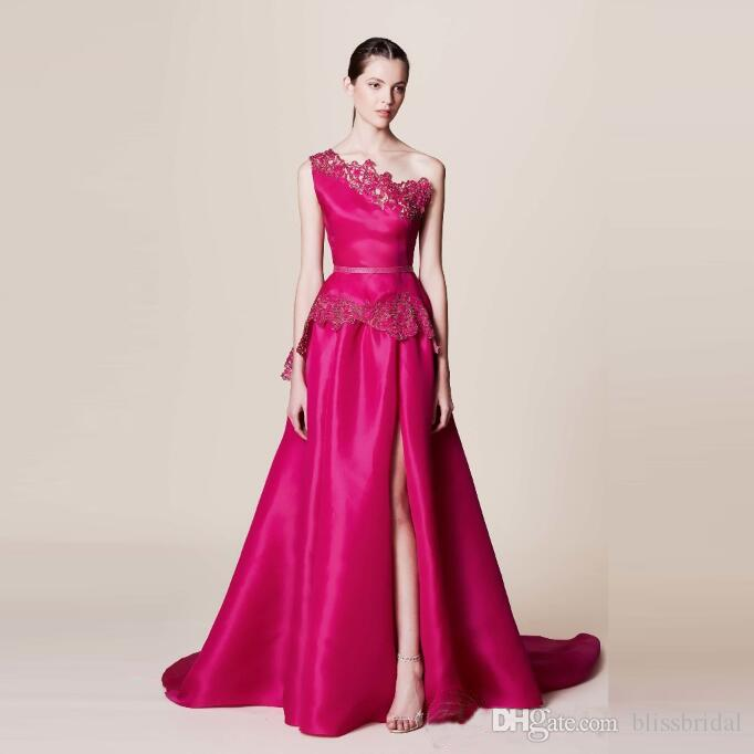 2016 Newest Satin Prom Dresses One Shoulder SideSplit Prom Gowns Applique Floor Length Sleeveless Marchesa Resort Arabic Prom Dresses