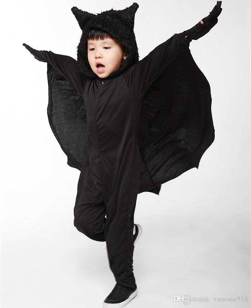 Child Animal Cosplay Cute Bat Costume Kids Halloween Costumes For Girls boys Black Jumpsuit Connect Wings Cosplay Batman PS003