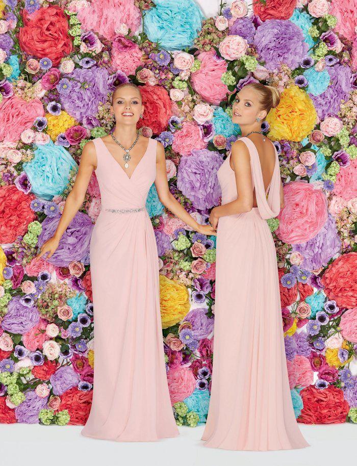 Custom Made Sheath Bridesmaid Dresses Ronald Joyce Floor Length Pink Chiffon Backless Sleeveless Crystal Sash Ruched Prom Dresses