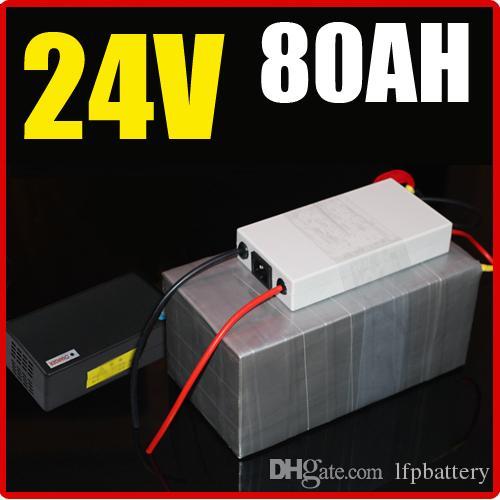 24V 80AH bateria de lítio, com 1500W BMS Chargrer, RC Energia solar E-bike Bicicleta elétrica Scooter 29.4V bateria
