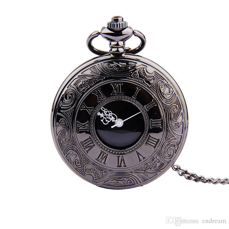 Roman Numerals Pocket Watch Black Flip Watch Necklace Fashion Jewelry for Women Men Christmas Gift Drop Shipping