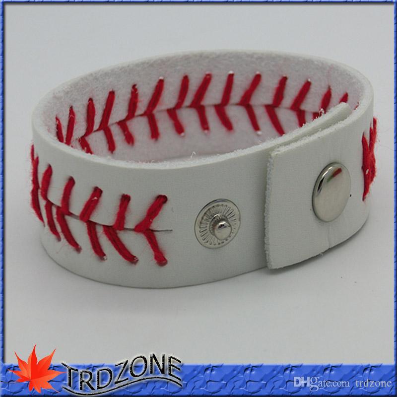 Branco com costura vermelha costurando couro real Baseball Sports Bracelet