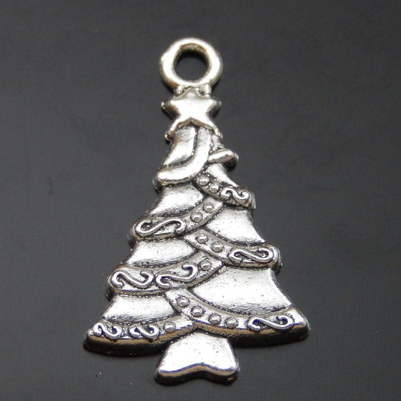 Monili d'argento antichi dei monili di fascini del pendente dell'albero di Natale della lega 30PCS che fanno fabbricazione dei monili di 24 * 14 * 2 millimetro 50014