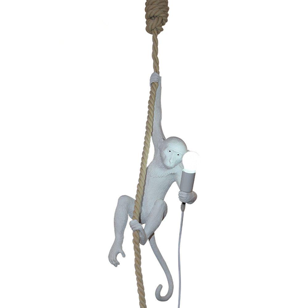 Moderna scimmia a soffitto bianco scimmia bianca su una corda a soffitto lampada a sospensione per sala da pranzo Hotel Home Decor