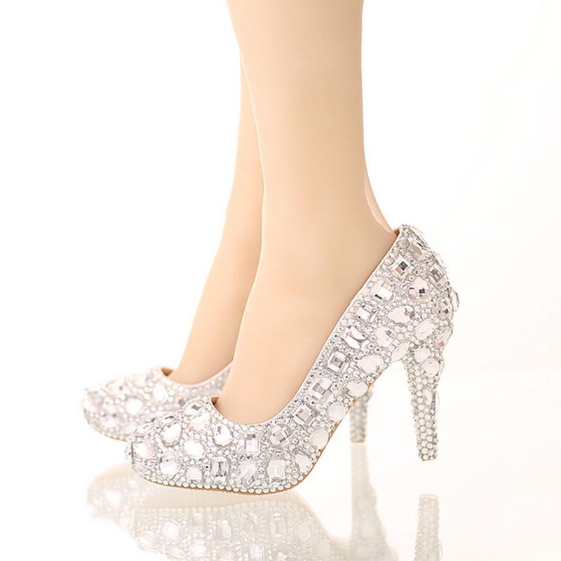 Mariée Chaussures En Cristal Strass Chaussures De Mariage Argent À Talons Hauts Plate-Forme Événement Chaussures Femmes Main À La Mode Robe De Soirée Chaussures