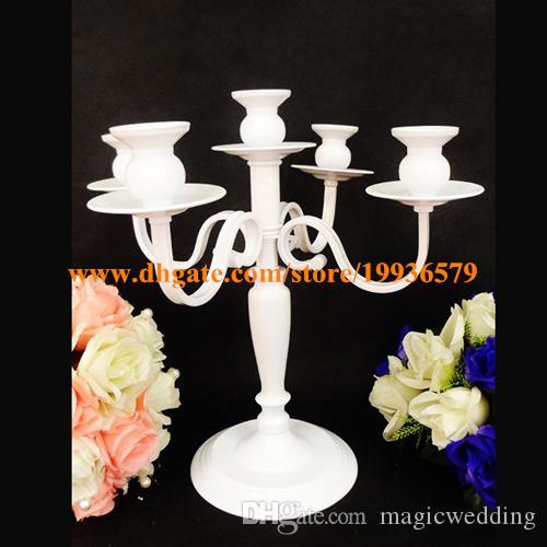 White cheap small elegant tealightmetal candle holder forwedding centerpieces; candelabra home decor