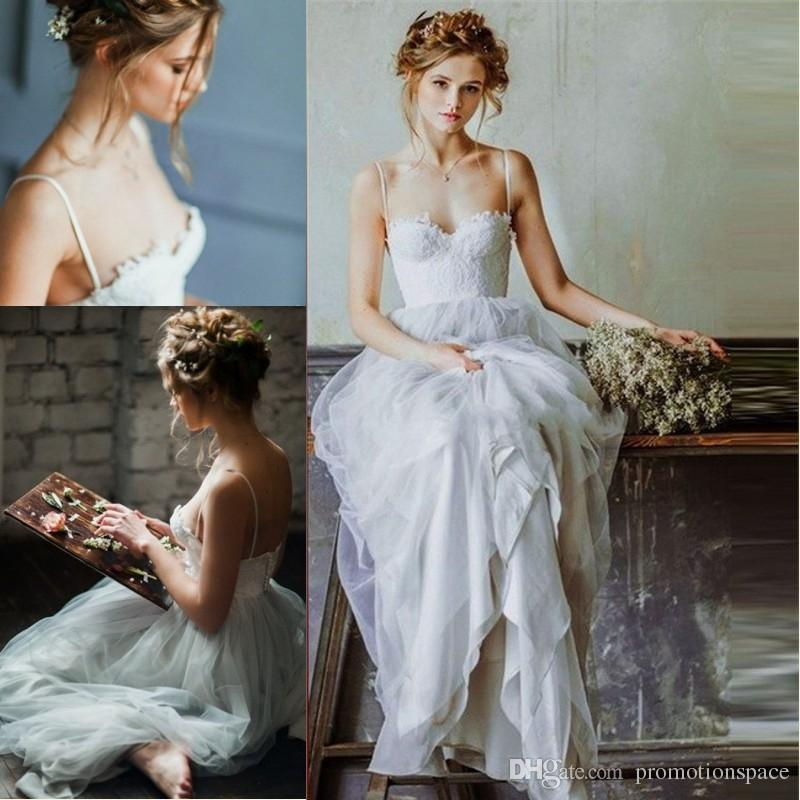 Romantic Sweetheart Lace Beach Wedding Dresses 2016 Backless Spaghetti Straps A Line Long Bohemian Wedding Dress Robe De Soiree