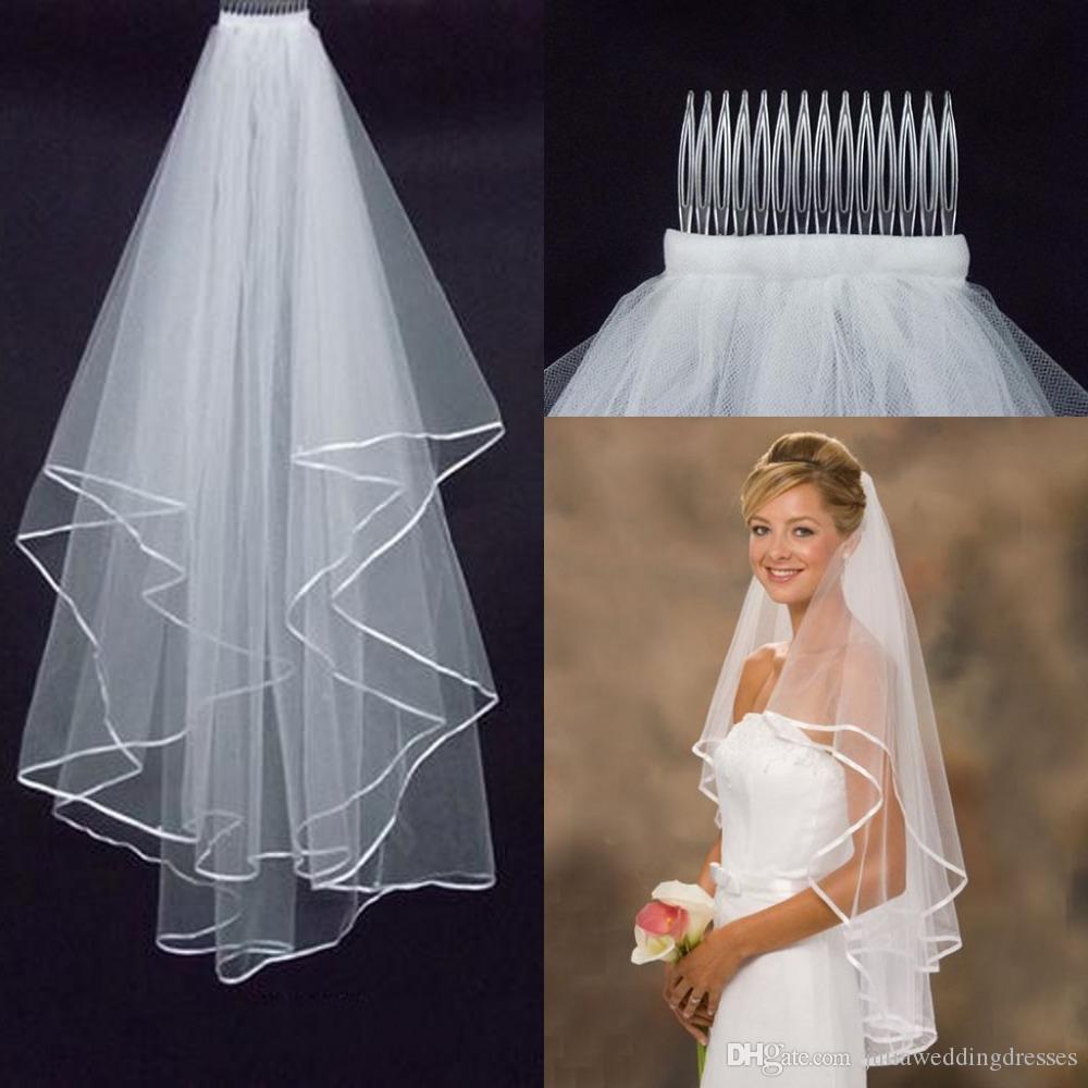 2020 novo véu do casamento em estoque véu acessórios de casamento branco marfim fita borda de duas camadas tulle véu nupcial