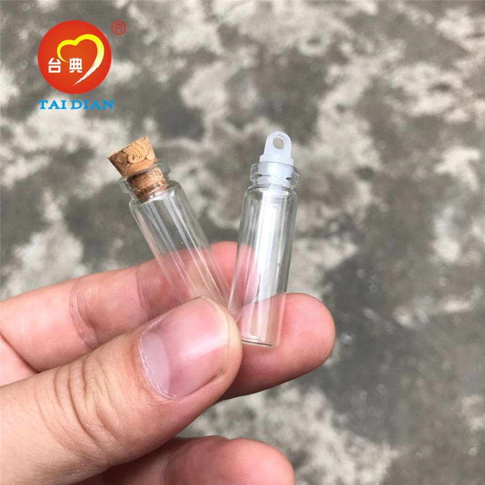 2ml Mini Glass Bottles Pendants With Cork or Rubber Stopper Small Bottle Decoration Crafts Vials Jars Gift DIY Bottles