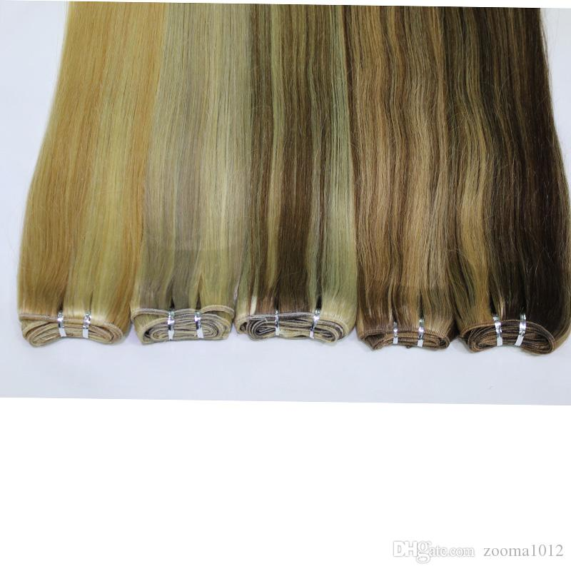 """100 Body Wave Human Remy Hair Extensions P27 / 613 P8 / 613 P10 / 24 P18 / 613 Brasiliansk Piano Färg Straight Weaving Weft 18 """"-24"""""""