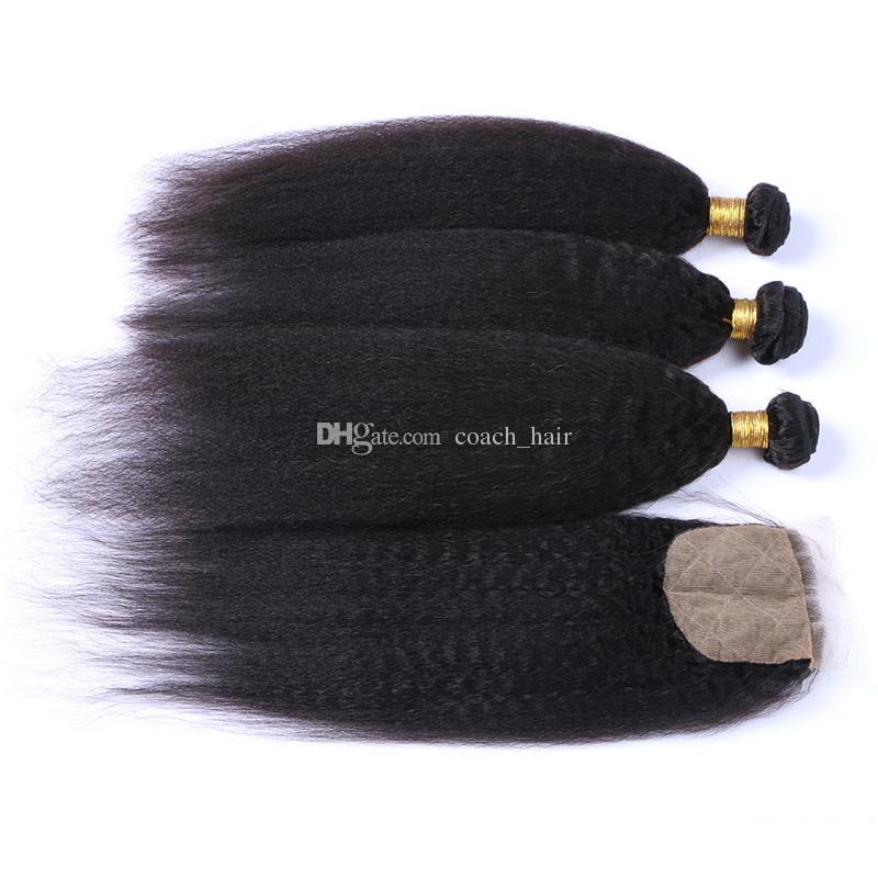 Brazilian Kinky Straight Hair 3 Bundles With Silk Base Closure 4Pcs Lot 4*4 Silk Base Closure With Bundles Brazilian Kinky Straight Hair
