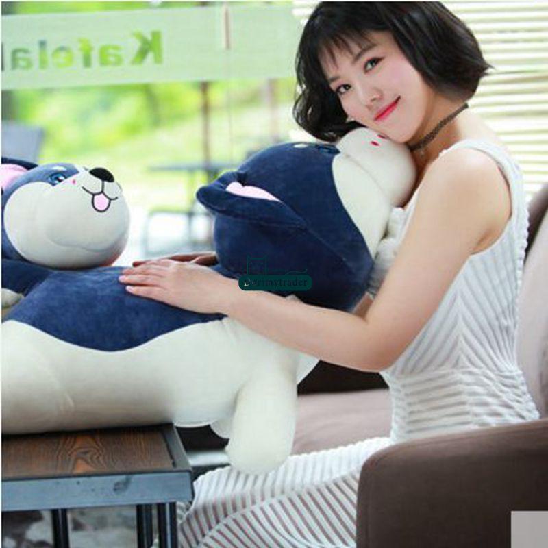 Dorimytrader New Lovely Large Soft Animal Husky Dog Plush Toy Stuffed Lying Dog Doll Pillow Gift for Kids 50cm 70cm 90cm 120cm DY61735