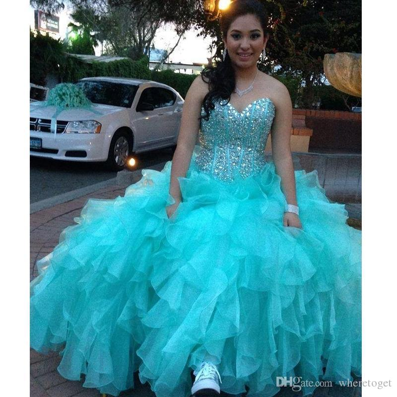 Shiny Beaded Ball Gown Quinceanera Gowns Light Sky Blue Sweet 16 Quinceanera Dresses Sexy Sweetheart Long Ruffles Quinceanera Dress