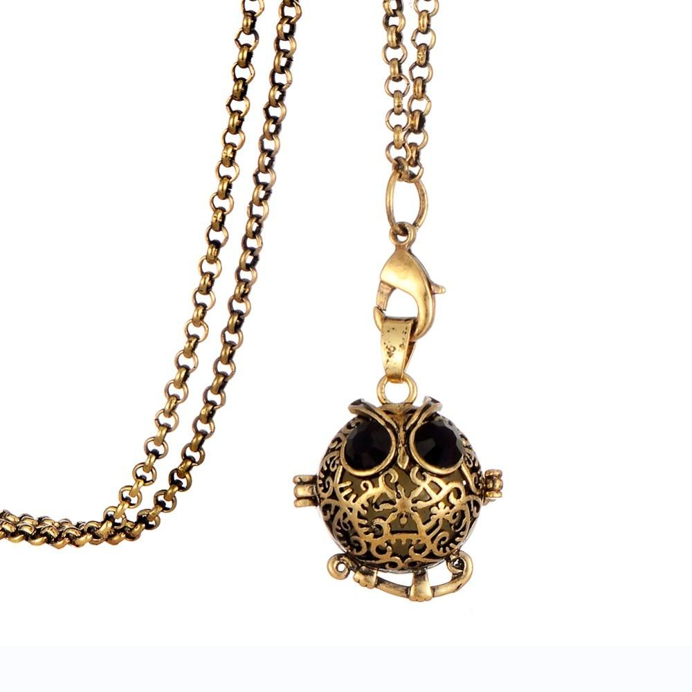 Glow-in-the-Dark-Animal-Owl-Locket-Antique-Bronze-Pendant-Necklace-Fragrance-Aromatherapy-Essential-Oil-Diffuser