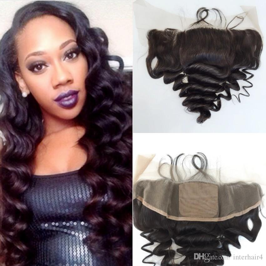 Ear to Ear 13x4 Peruvian Loose Wave Full Lace Frontal Closure Cheap Virgin Human Hair Silk Top Lace Frontals Bleached Knots