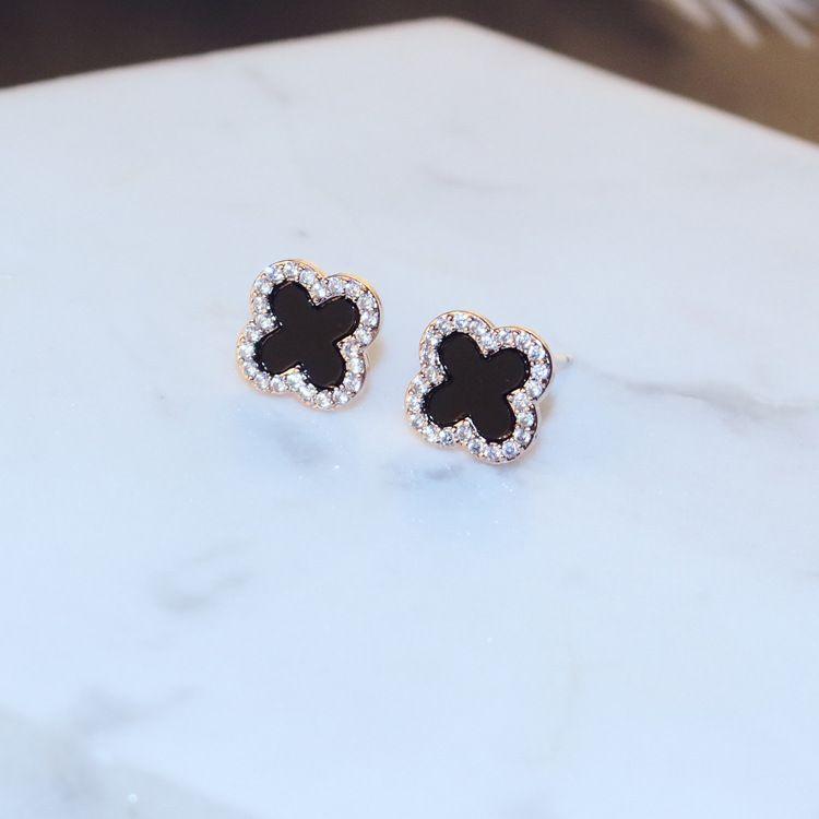 Agood pendientes de moda para las mujeres trébol negro earing stud 925 plata esterlina pin de alta calidad