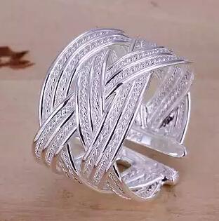 Anello in maglia di argento 925 per le donne Anelli aperti Regalo di Natale Festa di matrimonio di buona qualità Fashion Design