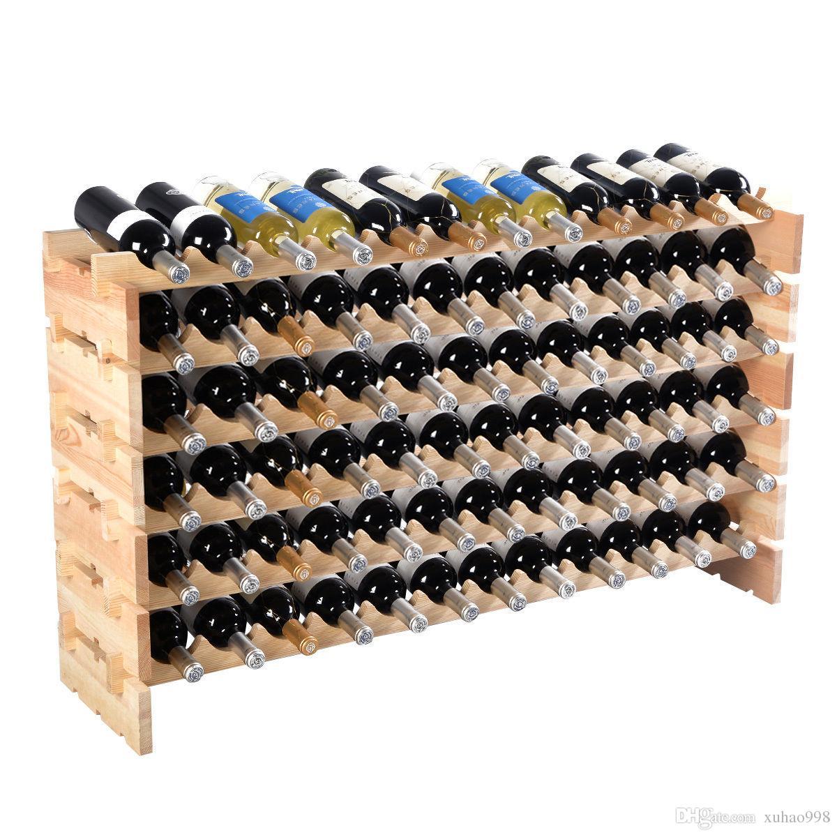 Nuevo 72 Botella de vino de madera en rack de almacenamiento apilable 6 nivel de almacenamiento estantes de exhibición