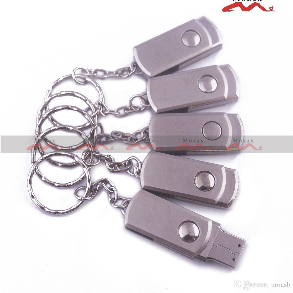 Logotipo Gravado Laser Grátis 50pcs 128MB / 256MB / 512MB / 1GB / 2GB / 4GB / 8GB / 16GB Metal Swivel Metal USB com Keychain Memória Flash 100% Real Storage