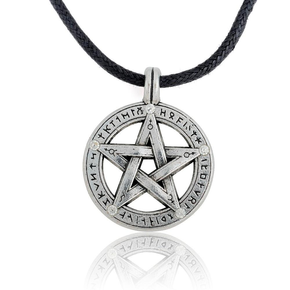 Antique-Pentagram-with-Runes-Pagan-Wiccan-Pentacle-Pendant-on-Leather-Necklace