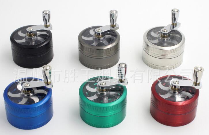 Broyeur à tabac DHL gratuit 55 * 35mm 3 couches en alliage de Zinc manivelle à tabac manivelle