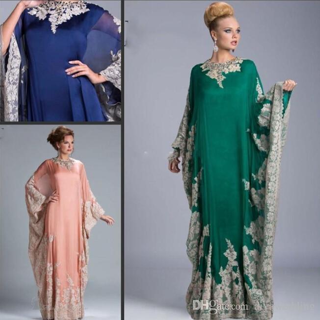 Pizzo Abiti da sera economici per donna Dubai Arabo Saudi Arabian Aftan Musulmano Rosa Royal Blue Green Donna Abiti formali Vestidos Maniche lunghe Nuovo