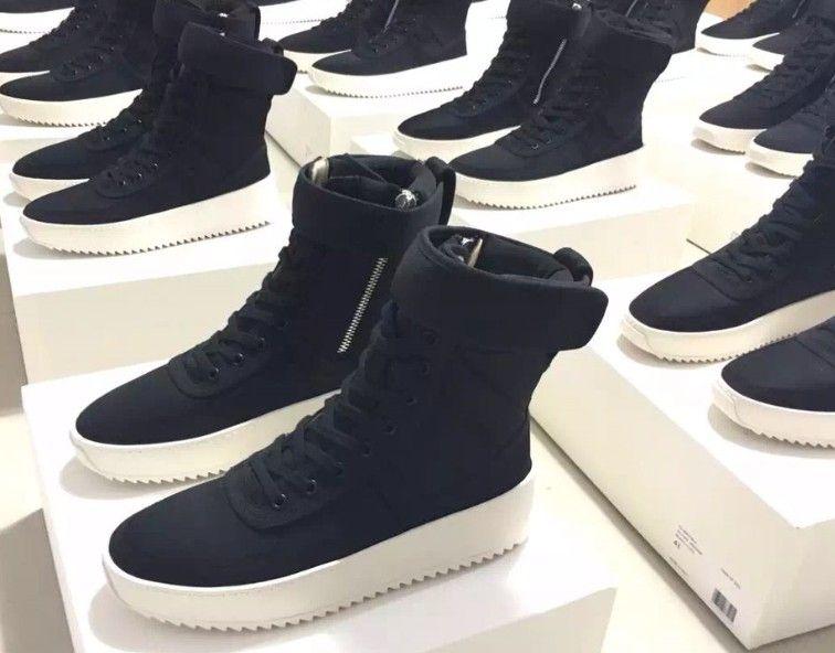 Sans-chaussure-boîte DHL taille libre 36-46 Peur de Dieu baskets militaires Nylon noir Jerry Lorenzo FOG fait en Italie Bottes haute couture d'hiver