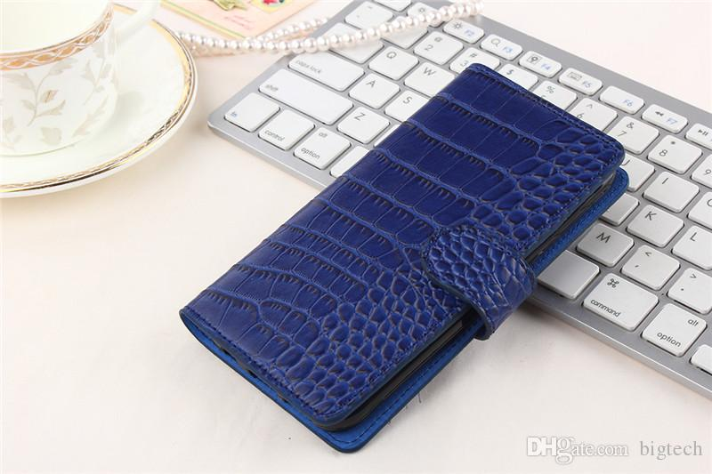 200pcs New Fashion Colors Flip Crocodile Case for iphone 7 4.7inch alcatel fierce 4 Mobile Phone Case PU Bags Cover Case with free shipping
