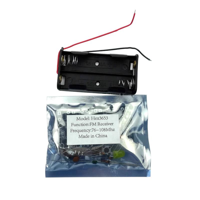 Freeshipping DIY 5 Tasten Stereo Wireless FM Radio Receiver Kit Elektronische Kit PCB 76 108 MHz