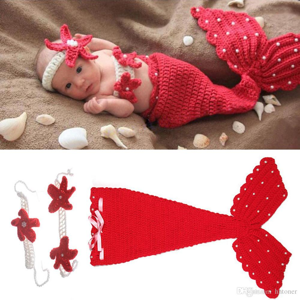2018 hot baby outfits baby girl beauty red mermaid suits wool