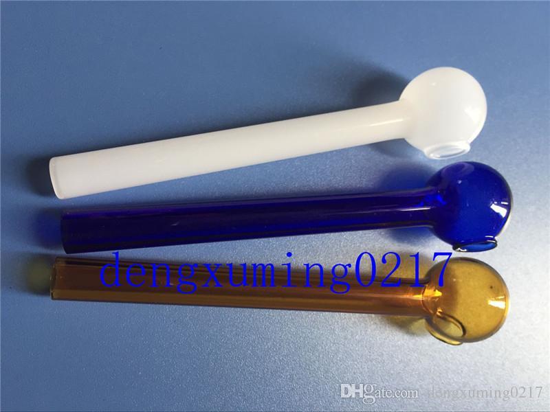 en venta mezclado colorido Pyrex vidrio quemador de aceite tubo de vidrio tubo de tabaco tubo de aceite de uñas