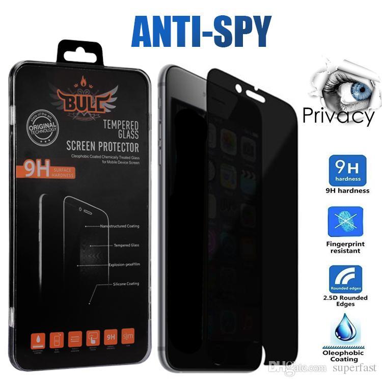 Verre intimité Trempé pour iPhone 11 X XS XR 8 Plus Anti-Spy Screen Protector 9H dureté en verre trempé pour Samsung J7 Premier Dans J3 Box