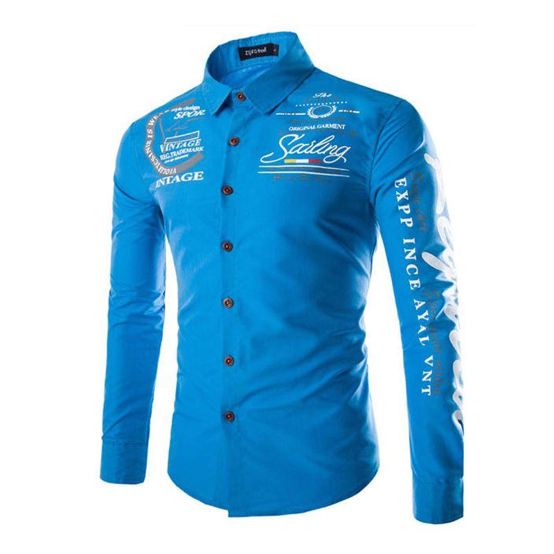 Wholesale-2016 جديد تريند قمصان رجالي كم طويل مطبوعة مصمم قميص الرجال أعلى ماركة عارضة camisa الغمد الملابس 13M0591