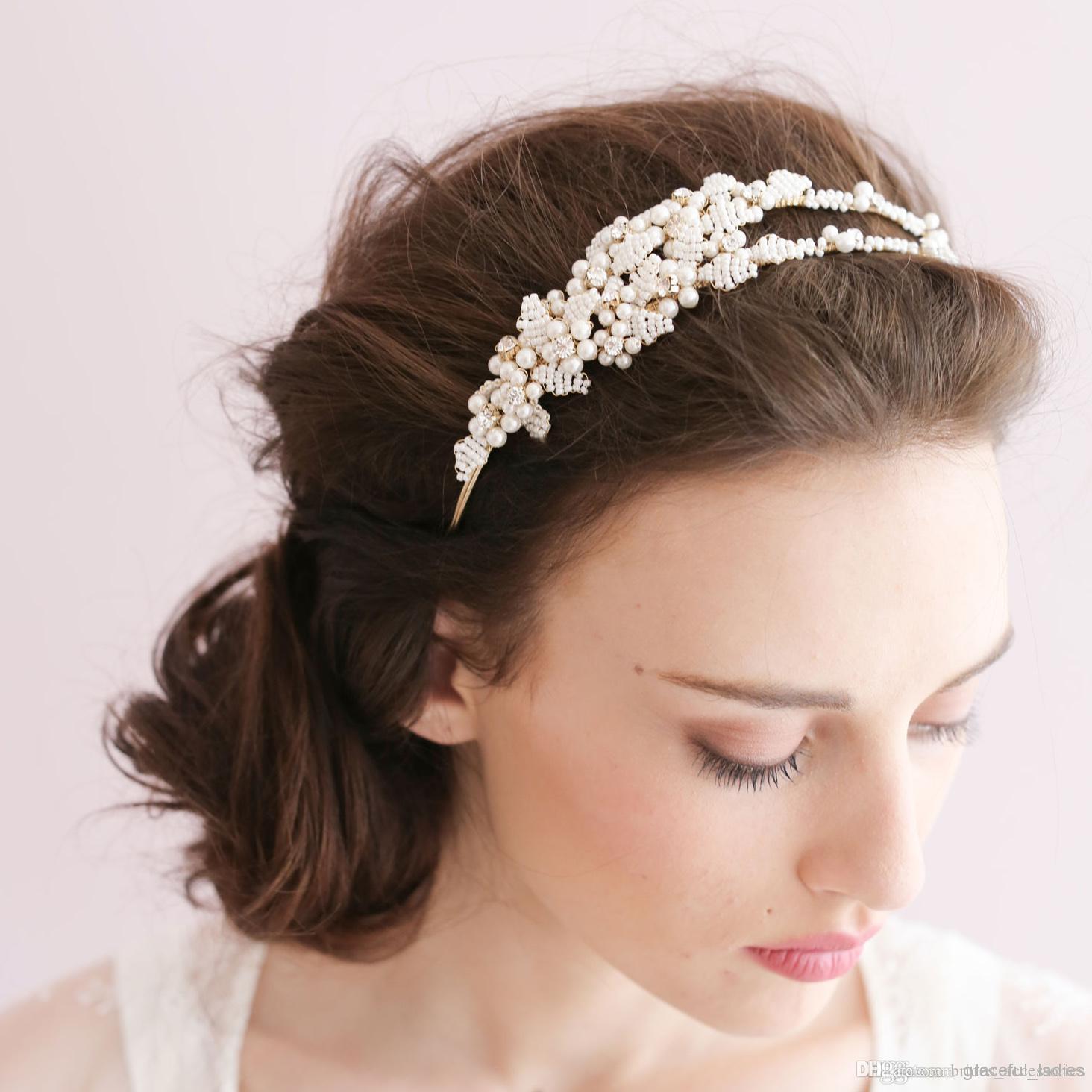 Tiny Perle Feuilles Double bandeau Coiffeuse Couleur de mariée Headpiece de mariée Perles Headpiece Bride Accessoires Hair Accessoires Heapeces