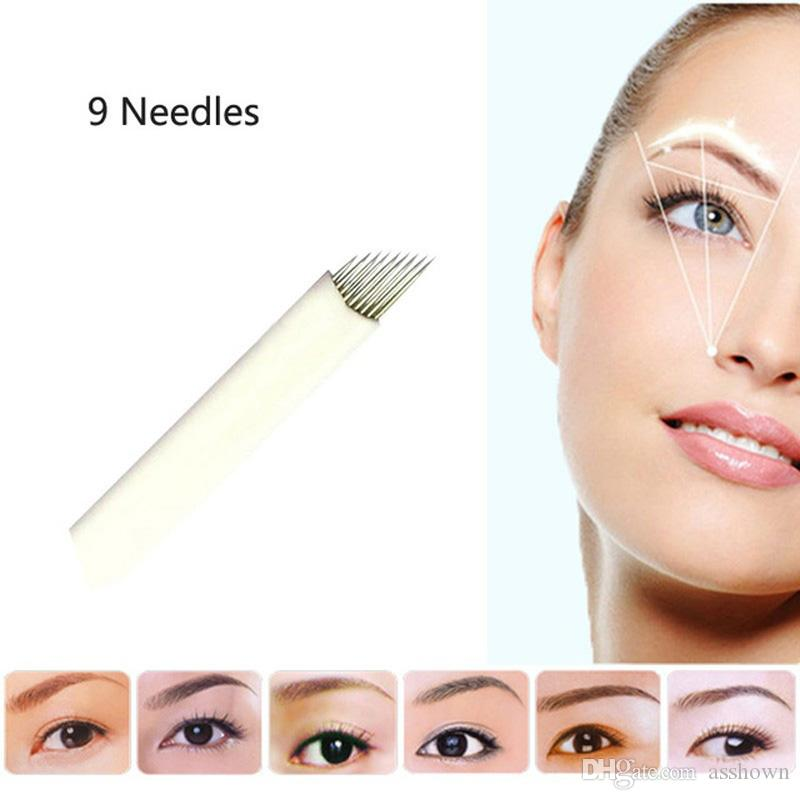 9 Flex Laminas Tebori 9 pin Microblading Nadeln Permanent Make-Up Augenbraue Tattoo Klinge Für Manuelle Tattoo Pen Maschine